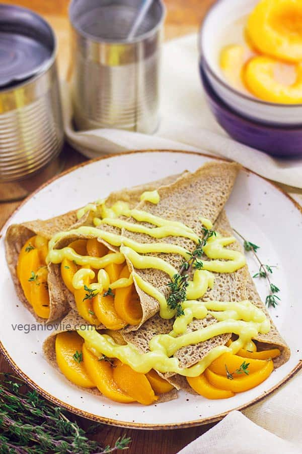 lemon thyme peach buckwheat crepes gluten-free vegan recipe