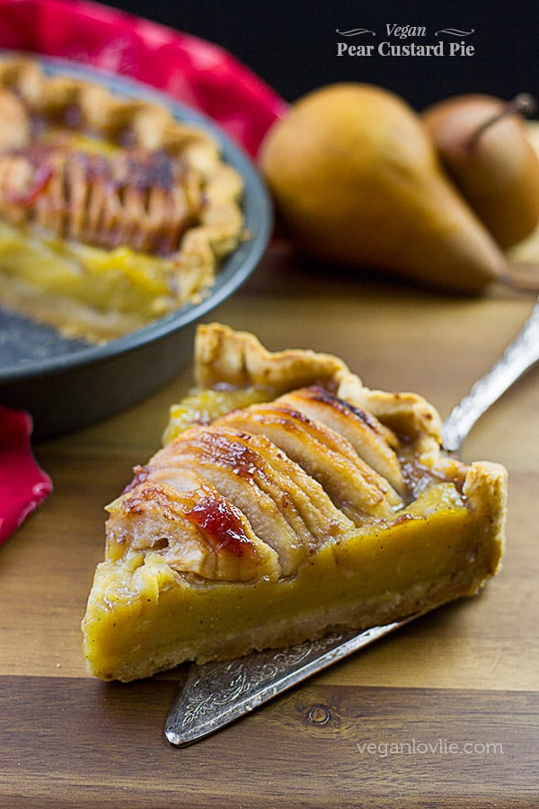 Vegan Pear Custard Pie