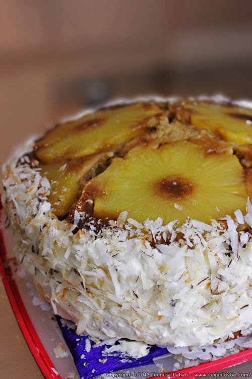 Vegan pineapple upside down cake iced