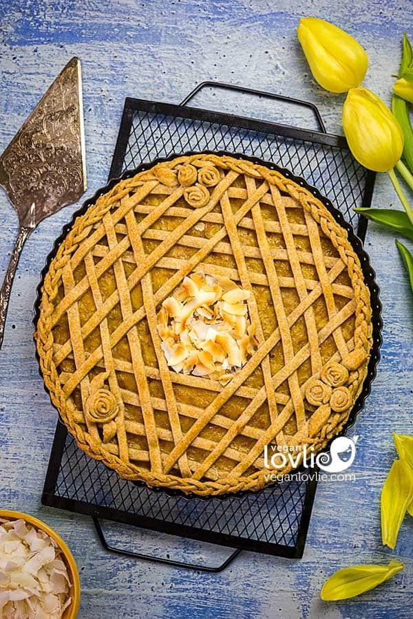 Vegan Pineapple Pie recipe with pretty lattice design