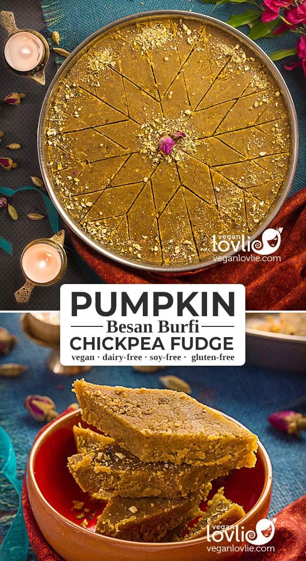 Pumpkin Besan Burfi, Pumpkin Chickpea Fudge