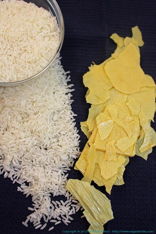 dried bean curd skin and rice