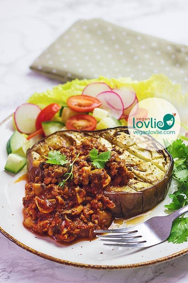 Roasted EggplantSteaks & Veggie Mince Sauce