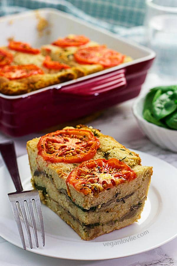 vegan savoury bread pudding, eggless bread pudding