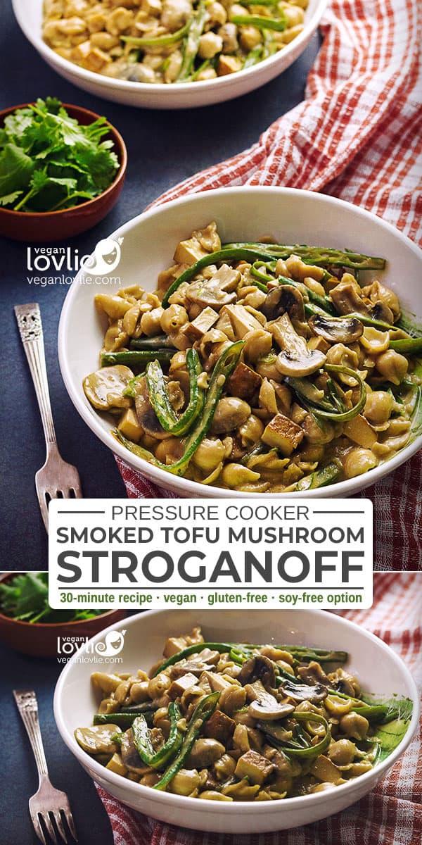 Smoked Tofu Mushroom Stroganoff with Green Beans