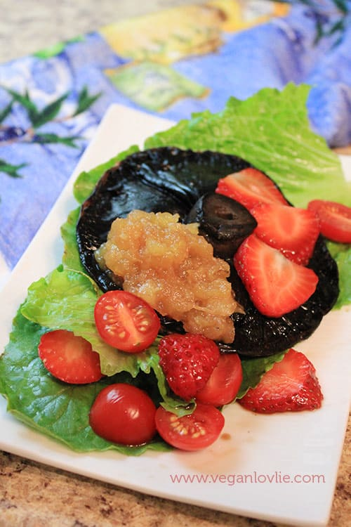 Sour Strawberries, Portobello Mushroom and Fruit Puree Salad