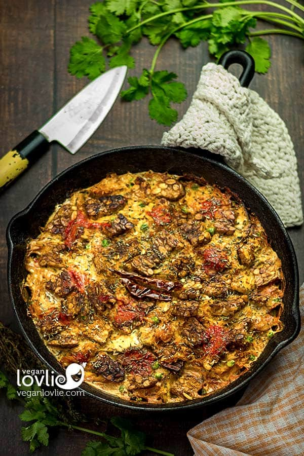 North African Spiced Spaghetti Squash Casserole with Tempeh