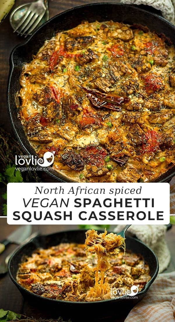 North African Spiced Vegan Spaghetti Squash Casserole with Tempeh