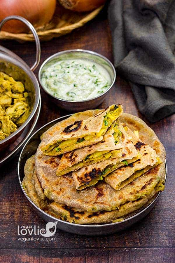 Onion Stuffed Paratha Roti Flatbread
