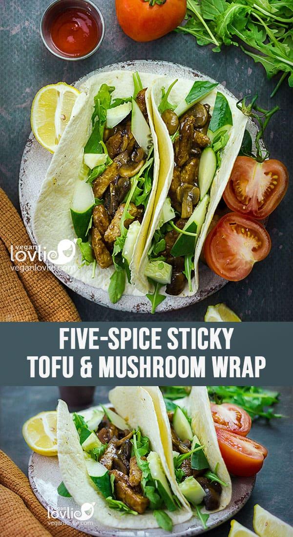 Five-Spice Sticky Tofu and Mushroom Wrap