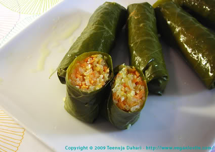Stuffed vine leaves, vegan dolmades recipes