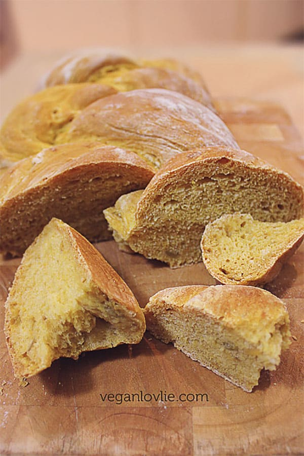 Sweet potato bread sliced, yeast bread