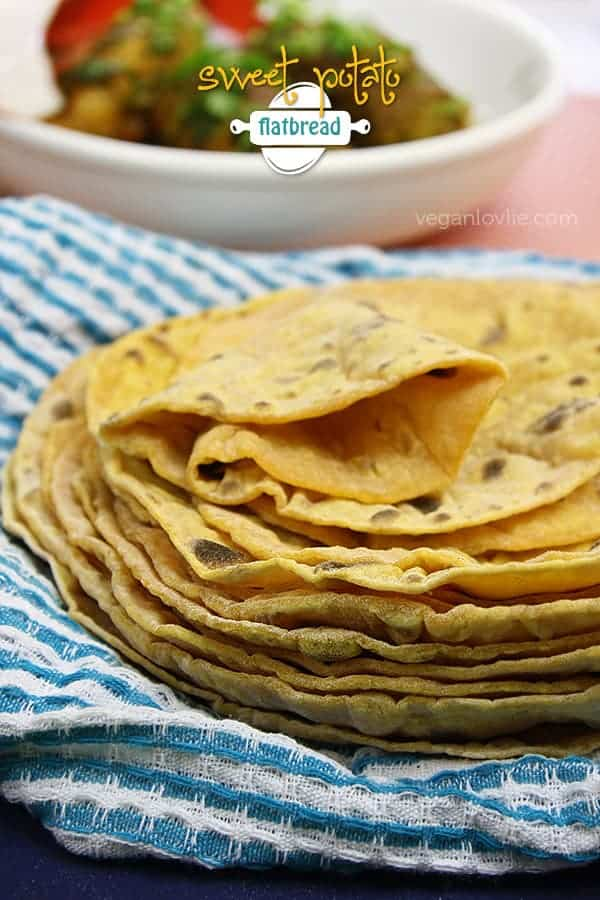 Sweet Potato Flatbread or Roti | Oil-free + No Yeast