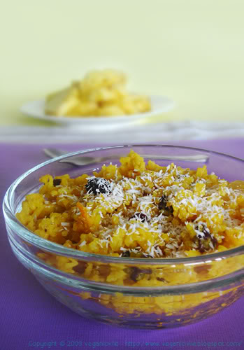 sweet yellow rice with pineapple, vegan rice dessert