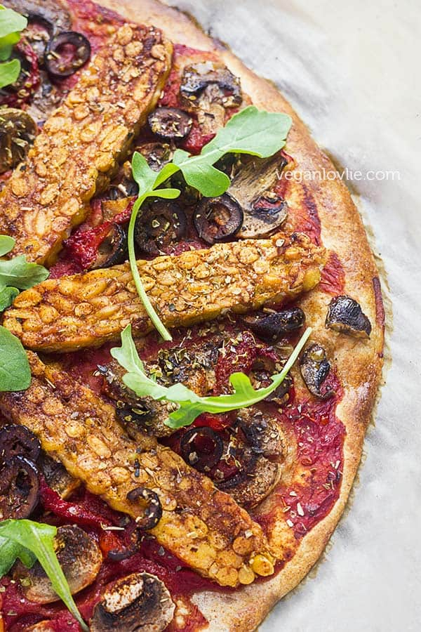 Harissa Tempeh Pizza with No Knead Pizza Dough