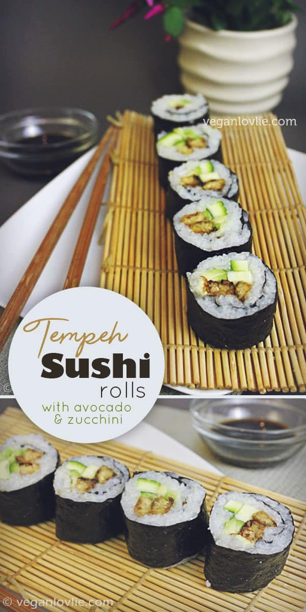 tempeh sushi maki rolls with avocado and zucchini