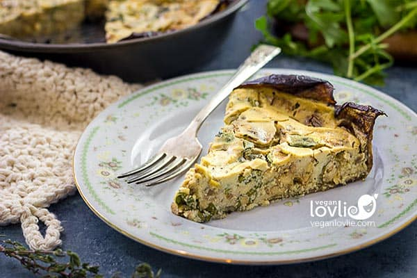 Smoky Tempeh Vegan Crustless Quiche with Eggplant Crust