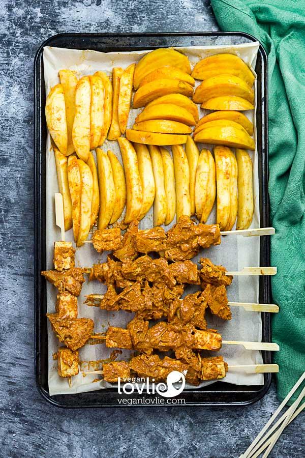 Vegan Sheet Pan Dinner - Tandoori Tofu and Jackfruit Kebabs, Potato Wedges and Golden Beetroot