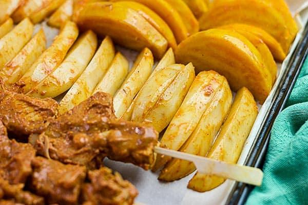 Vegan Sheet Pan Dinner - Potatoes and Golden Beetroot