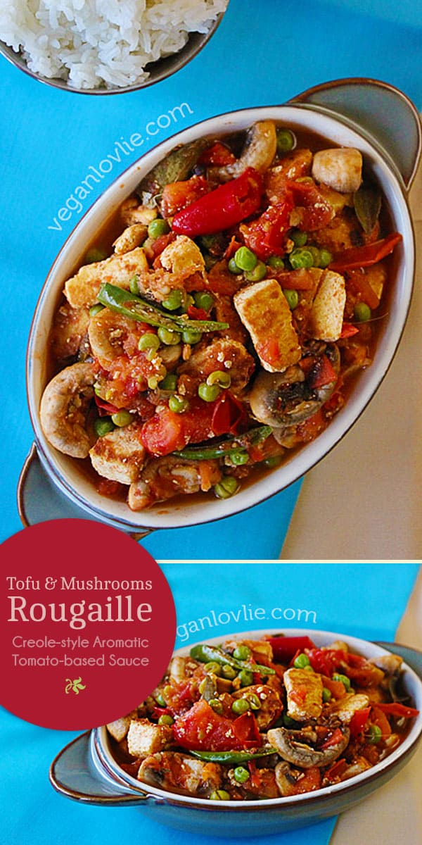 tofu mushrooms rougail or rougaille