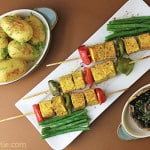 vegetable turmeric tofu skewers and baby potatoes