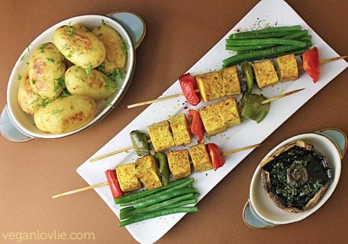 Turmeric Tofu Skewers, Herbed Baked Baby Potatoes and Portobello Mushrooms