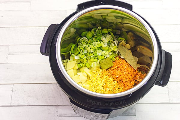 Pressure Cooker Turmeric Lentil Leek and Potato Soup Recipe