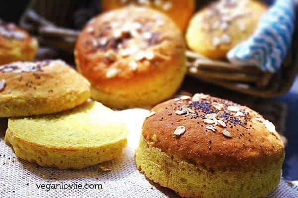 Turmeric and Coconut Burger Buns, Vegan Bread Buns