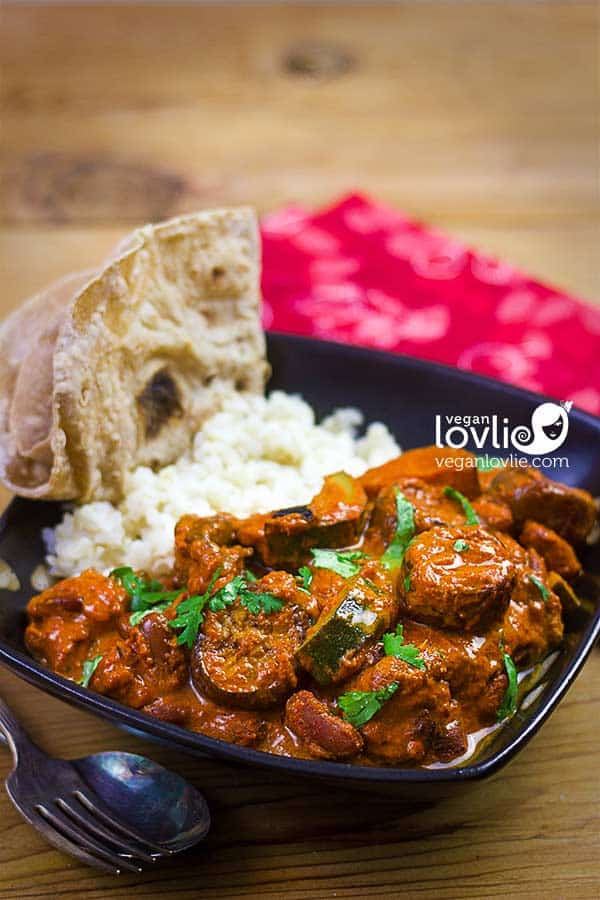 Vegan Tikka Masala Curry with Eggplant, Red Kidney Beans and Courgette (Zucchini)