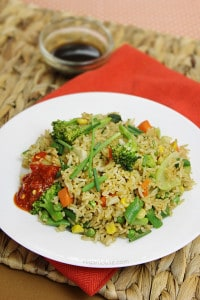 vegetable fried rice, eggless, low-fat