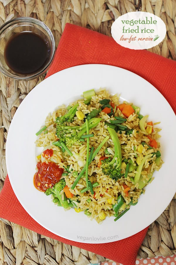 vegetable fried rice, egg-free, low-fat fried rice