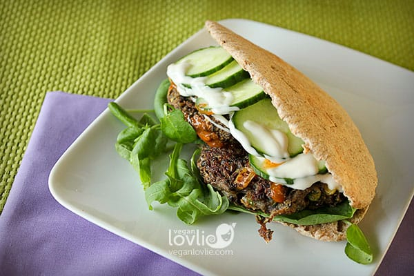 Veggie lentil burger, vegan lentil burger recipe, veggie burger in pita bread