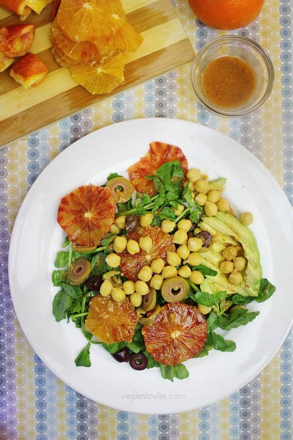 Watercress and Blood Orange Salad with Citrus Miso Dressing | Oilfree + Vegan + Soyfree Option