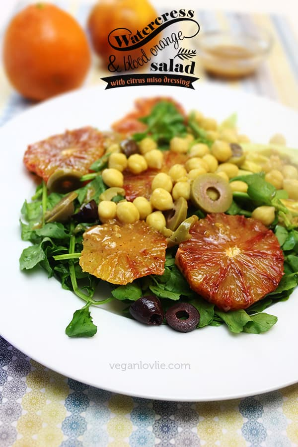 Watercress & Blood Orange Salad with Citrus Miso Dressing | Oilfree + Vegan + Soyfree Option